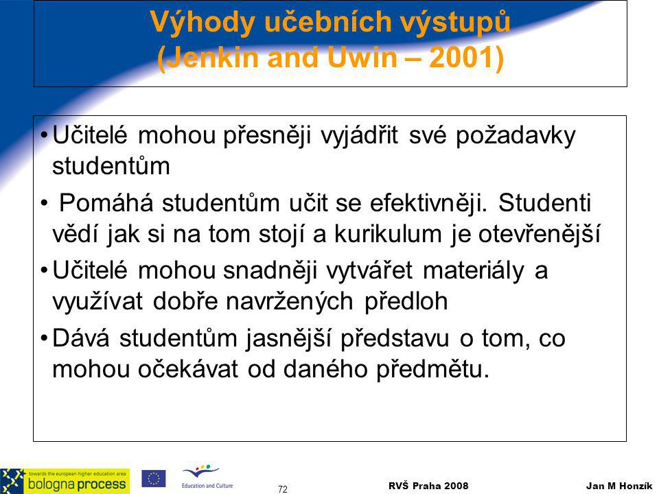 Výhody učebních výstupů (Jenkin and Uwin – 2001)
