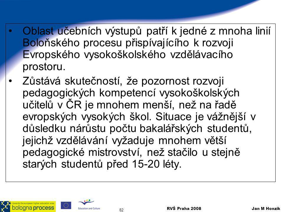 Oblast učebních výstupů patří k jedné z mnoha linií Boloňského procesu přispívajícího k rozvoji Evropského vysokoškolského vzdělávacího prostoru.