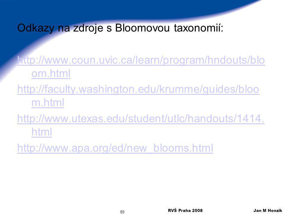 Odkazy na zdroje s Bloomovou taxonomií: