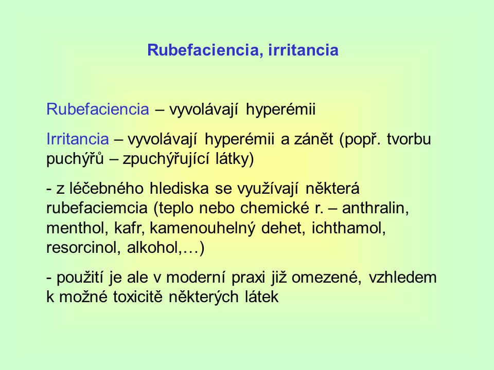 Rubefaciencia, irritancia