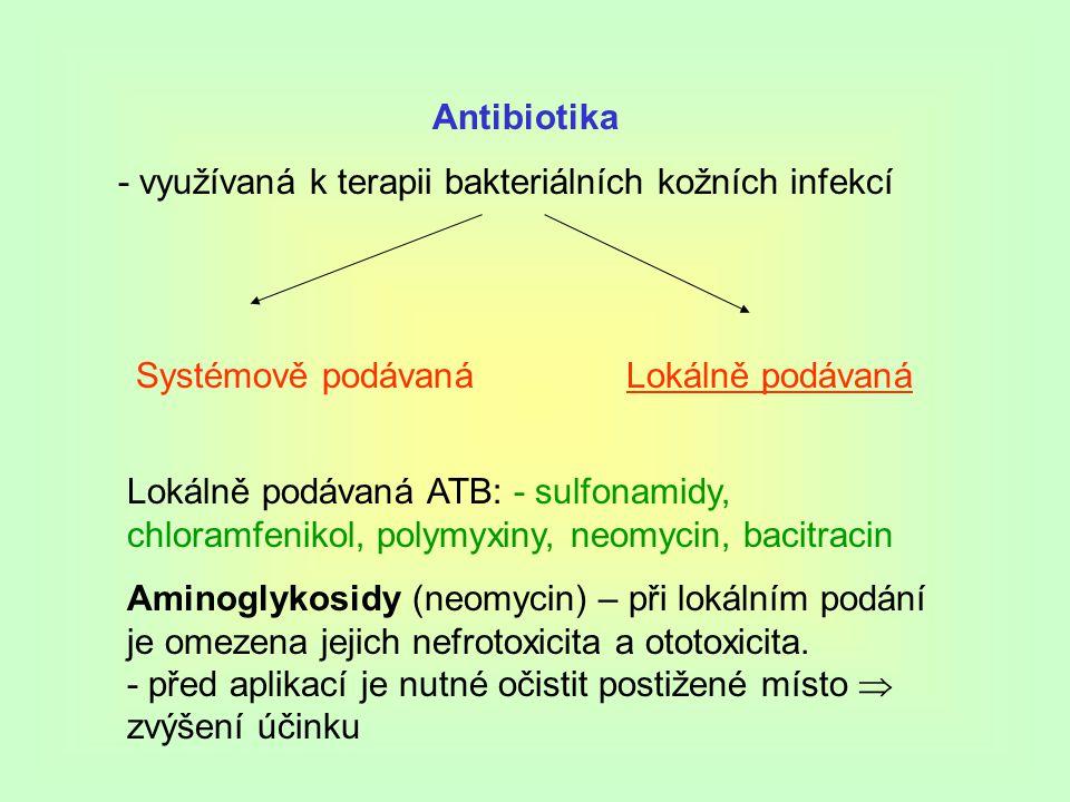 Antibiotika - využívaná k terapii bakteriálních kožních infekcí. Systémově podávaná. Lokálně podávaná.
