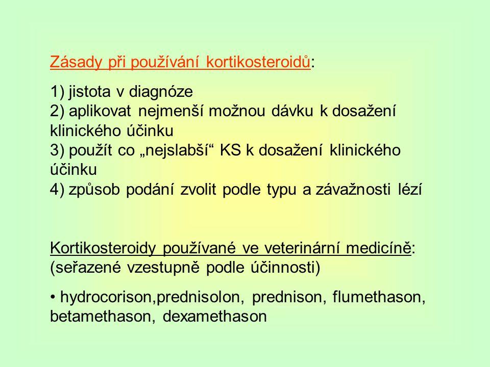 Zásady při používání kortikosteroidů: