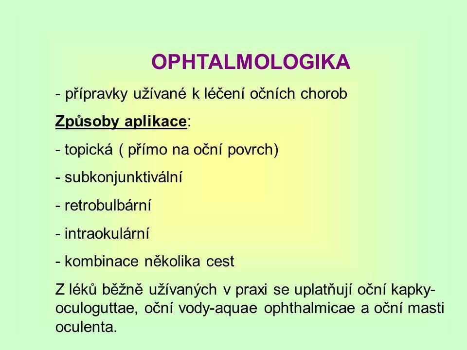 OPHTALMOLOGIKA přípravky užívané k léčení očních chorob