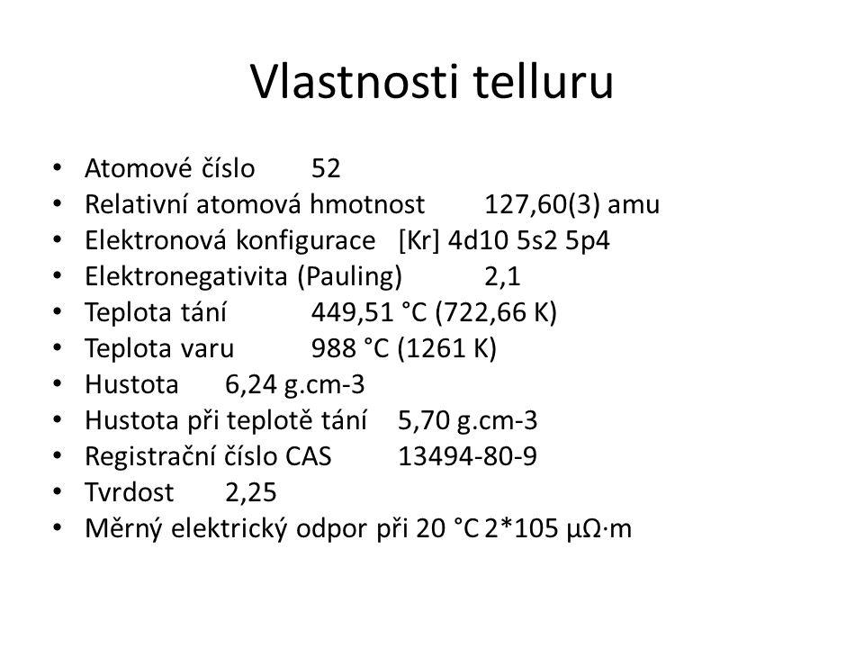 Vlastnosti telluru Atomové číslo 52