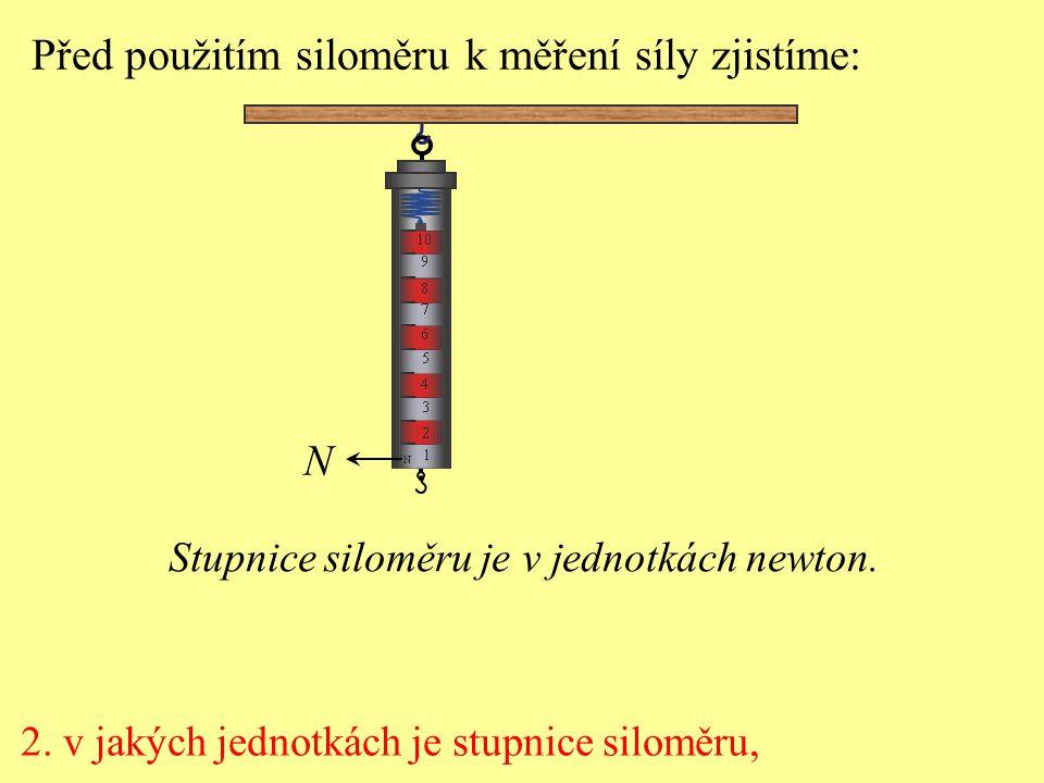 Před použitím siloměru k měření síly zjistíme: