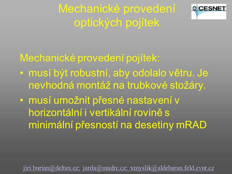 Mechanické provedení optických pojítek