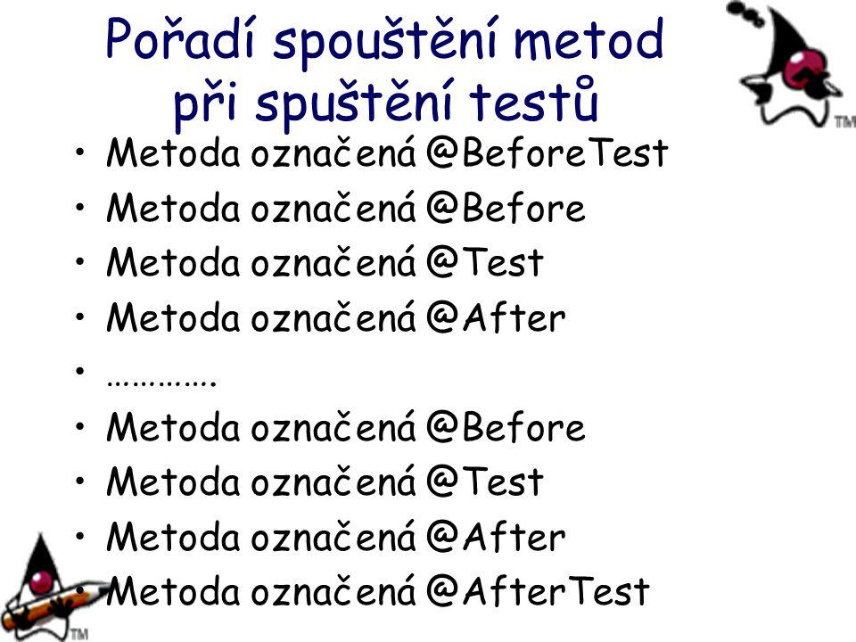 Pořadí spouštění metod při spuštění testů