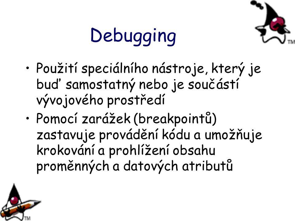 Debugging Použití speciálního nástroje, který je buď samostatný nebo je součástí vývojového prostředí.