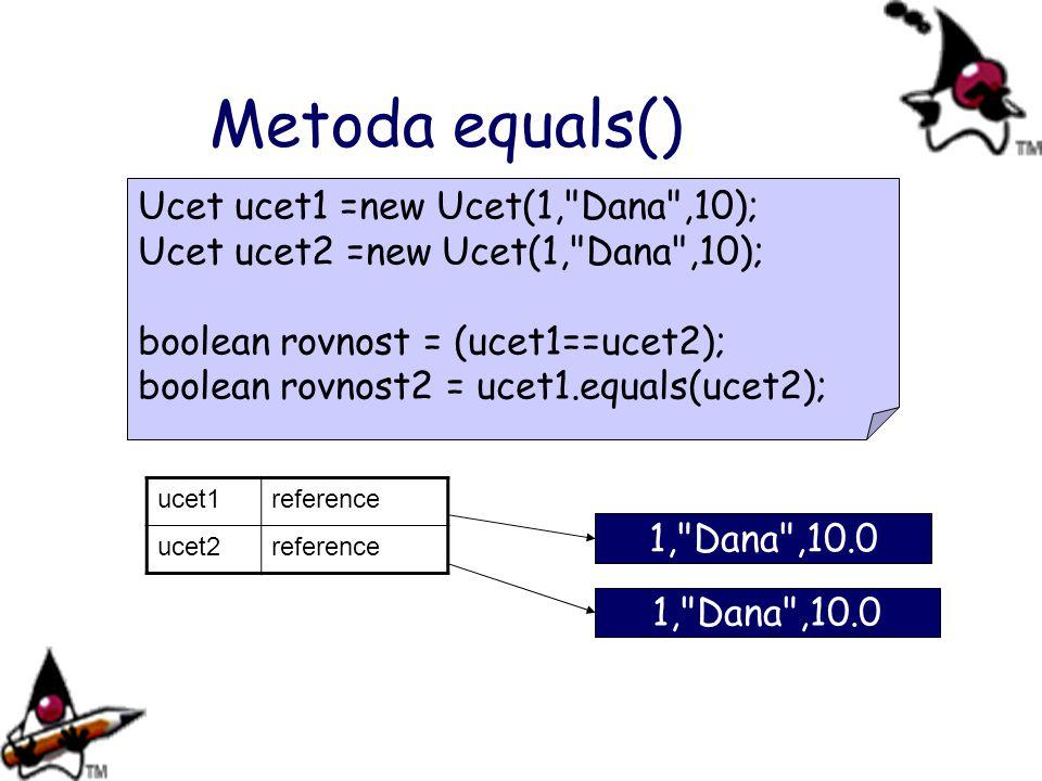 Metoda equals() Ucet ucet1 =new Ucet(1, Dana ,10);