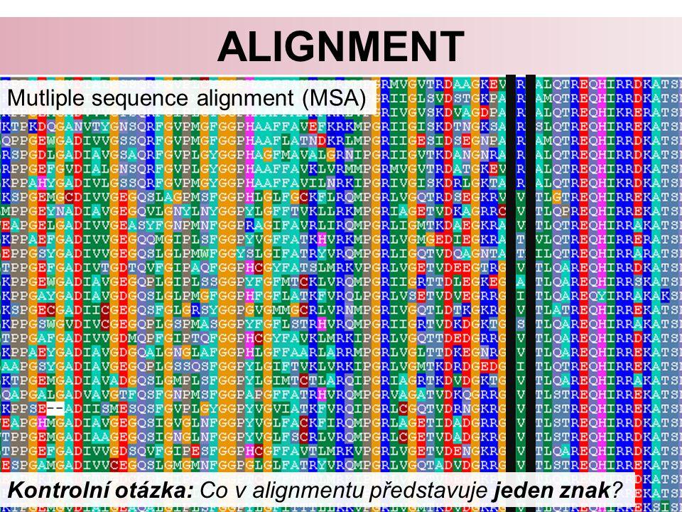 alignment Mutliple sequence alignment (MSA)
