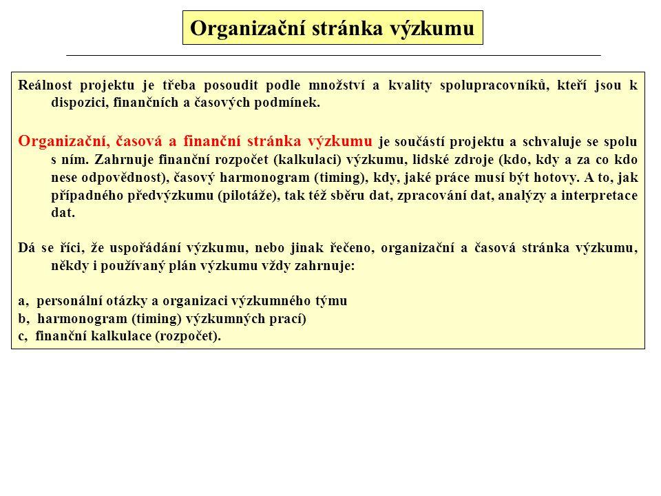 Organizační stránka výzkumu