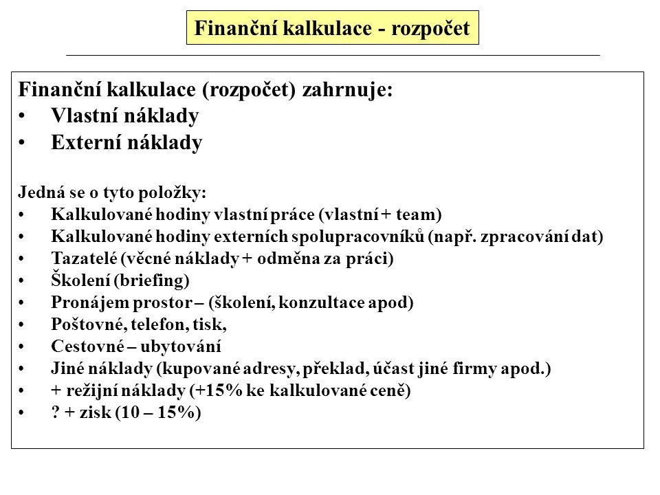 Finanční kalkulace - rozpočet