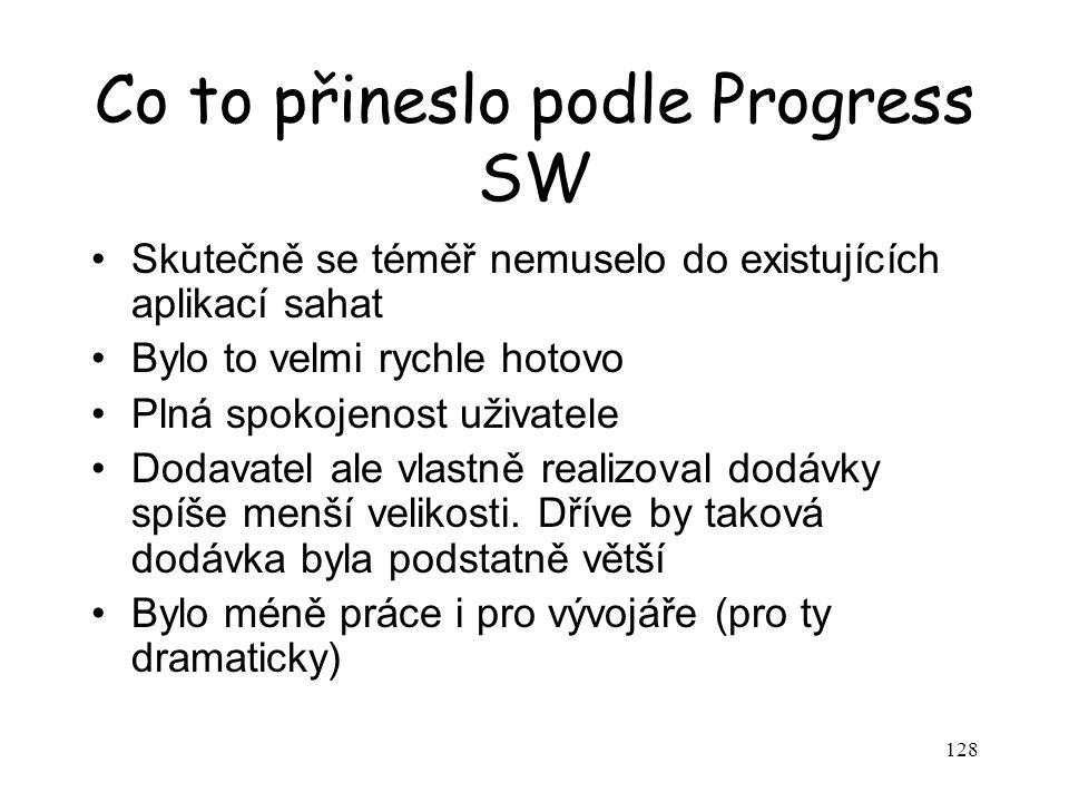 Co to přineslo podle Progress SW