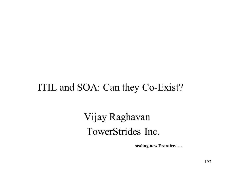 ITIL and SOA: Can they Co-Exist