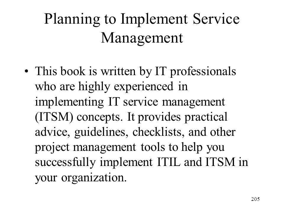 Planning to Implement Service Management