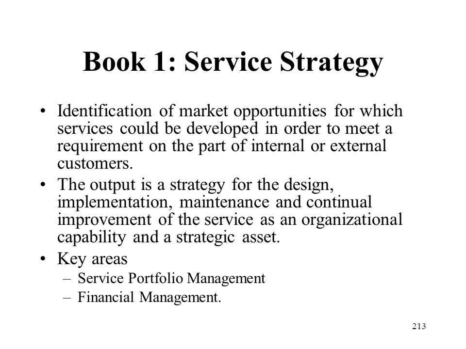 Book 1: Service Strategy