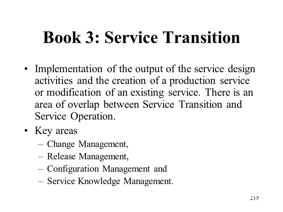 Book 3: Service Transition