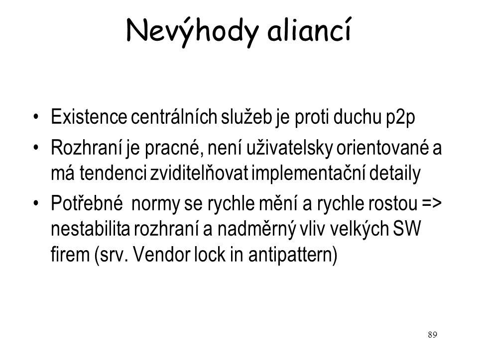 Nevýhody aliancí Existence centrálních služeb je proti duchu p2p