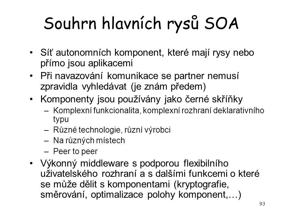 Souhrn hlavních rysů SOA