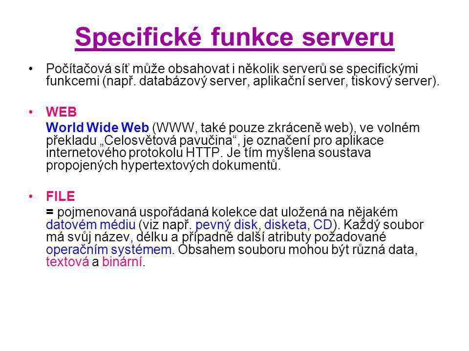 Specifické funkce serveru