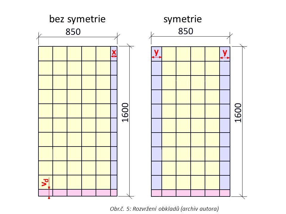 bez symetrie symetrie Obr.č. 5: Rozvržení obkladů (archiv autora)
