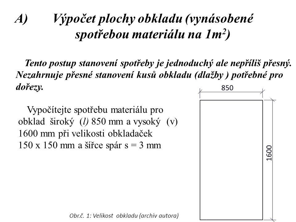 Výpočet plochy obkladu (vynásobené spotřebou materiálu na 1m2)