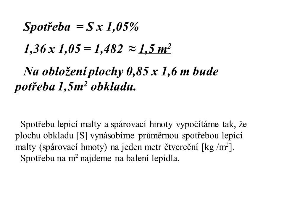 Na obložení plochy 0,85 x 1,6 m bude potřeba 1,5m2 obkladu.