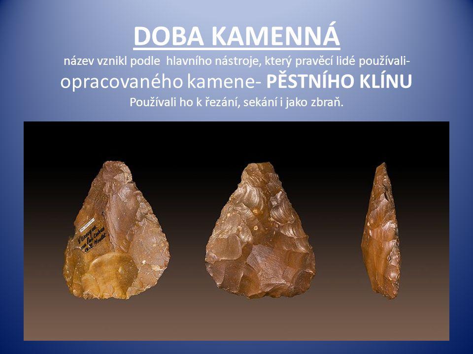 DOBA KAMENNÁ název vznikl podle hlavního nástroje, který pravěcí lidé používali- opracovaného kamene- PĚSTNÍHO KLÍNU Používali ho k řezání, sekání i jako zbraň.