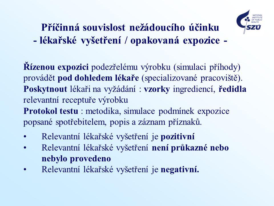 Příčinná souvislost nežádoucího účinku - lékařské vyšetření / opakovaná expozice -