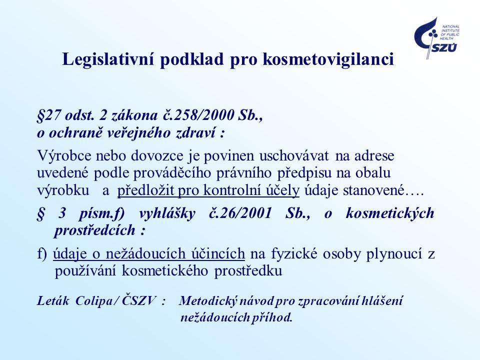 Legislativní podklad pro kosmetovigilanci