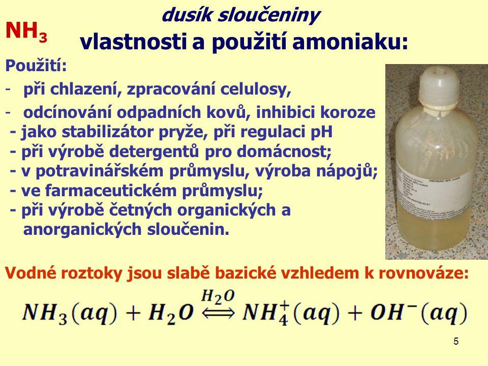vlastnosti a použití amoniaku: