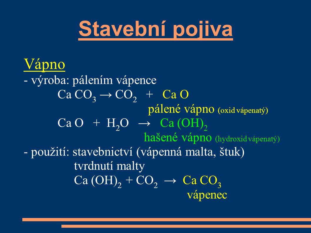 Stavební pojiva Vápno - výroba: pálením vápence Ca CO3 → CO2 + Ca O