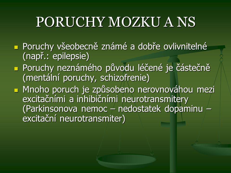PORUCHY MOZKU A NS Poruchy všeobecně známé a dobře ovlivnitelné (např.: epilepsie)