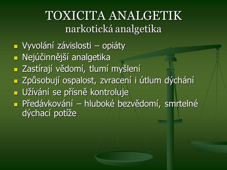 TOXICITA ANALGETIK narkotická analgetika