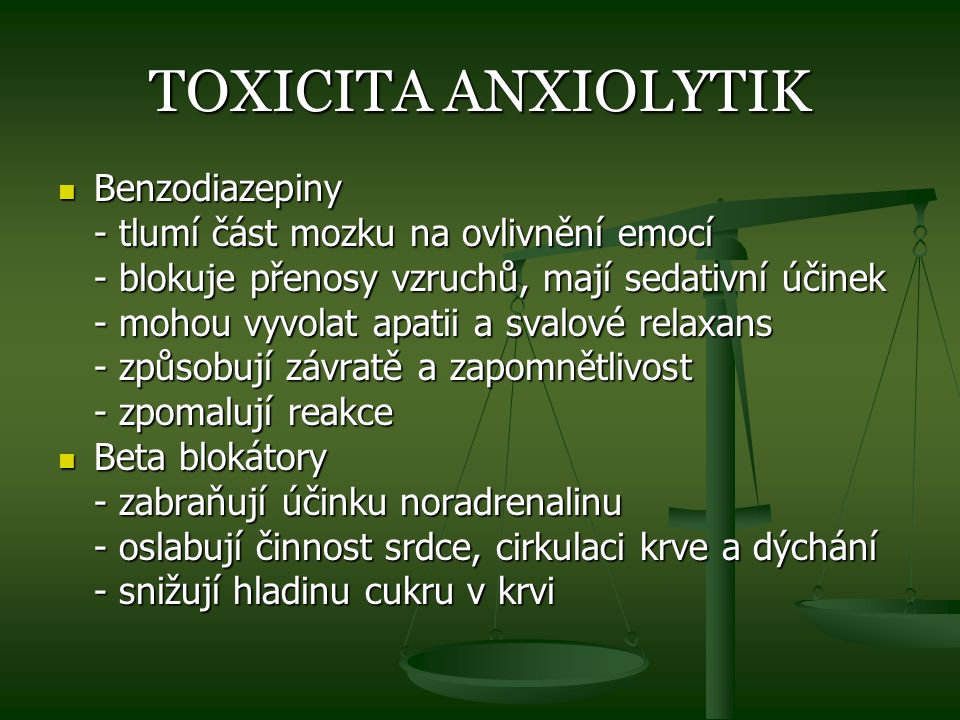 TOXICITA ANXIOLYTIK Benzodiazepiny