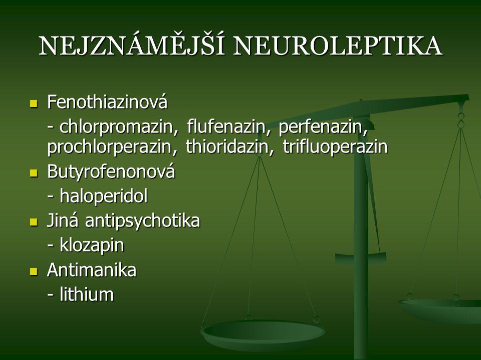 NEJZNÁMĚJŠÍ NEUROLEPTIKA