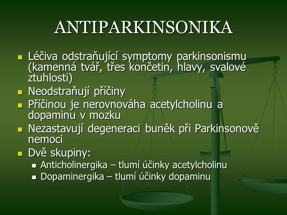 ANTIPARKINSONIKA Léčiva odstraňující symptomy parkinsonismu (kamenná tvář, třes končetin, hlavy, svalové ztuhlosti)