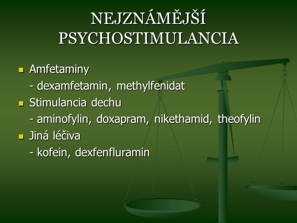 NEJZNÁMĚJŠÍ PSYCHOSTIMULANCIA