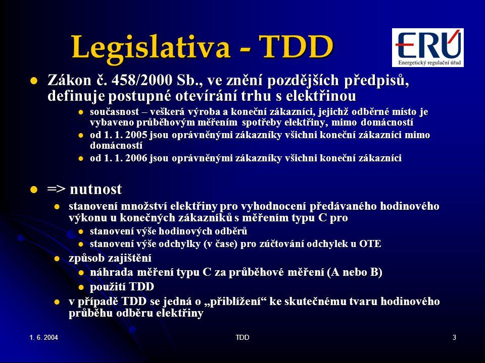 Legislativa - TDD Zákon č. 458/2000 Sb., ve znění pozdějších předpisů, definuje postupné otevírání trhu s elektřinou.