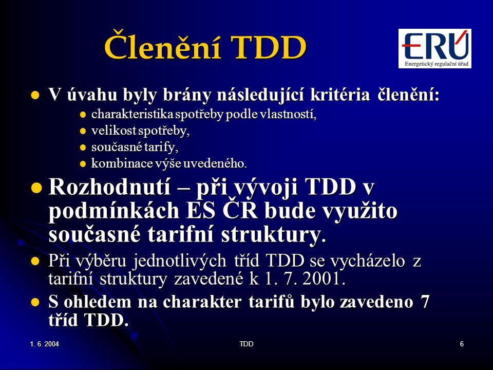 Členění TDD V úvahu byly brány následující kritéria členění: charakteristika spotřeby podle vlastností,