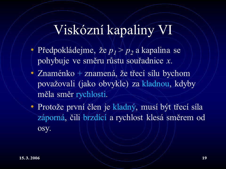 Viskózní kapaliny VI Předpokládejme, že p1 > p2 a kapalina se pohybuje ve směru růstu souřadnice x.