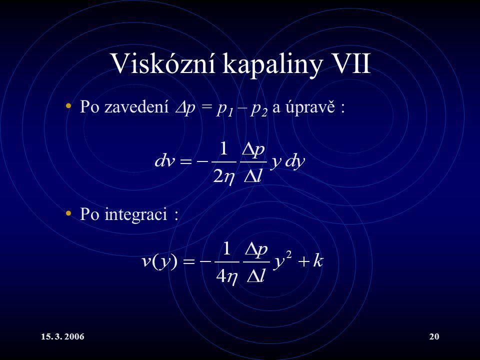 Viskózní kapaliny VII Po zavedení p = p1 – p2 a úpravě :