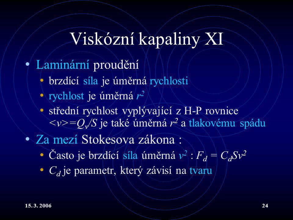 Viskózní kapaliny XI Laminární proudění Za mezí Stokesova zákona :