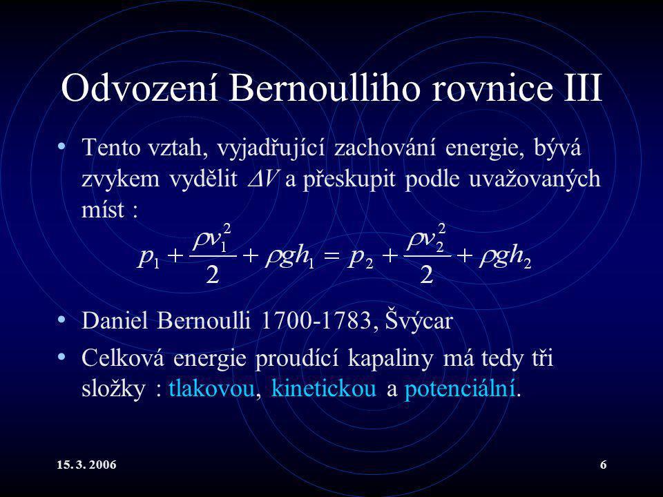 Odvození Bernoulliho rovnice III