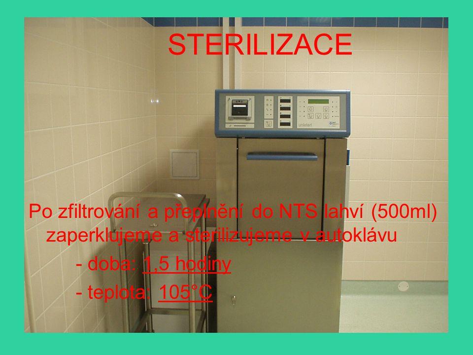 STERILIZACE Po zfiltrování a přeplnění do NTS lahví (500ml) zaperklujeme a sterilizujeme v autoklávu.