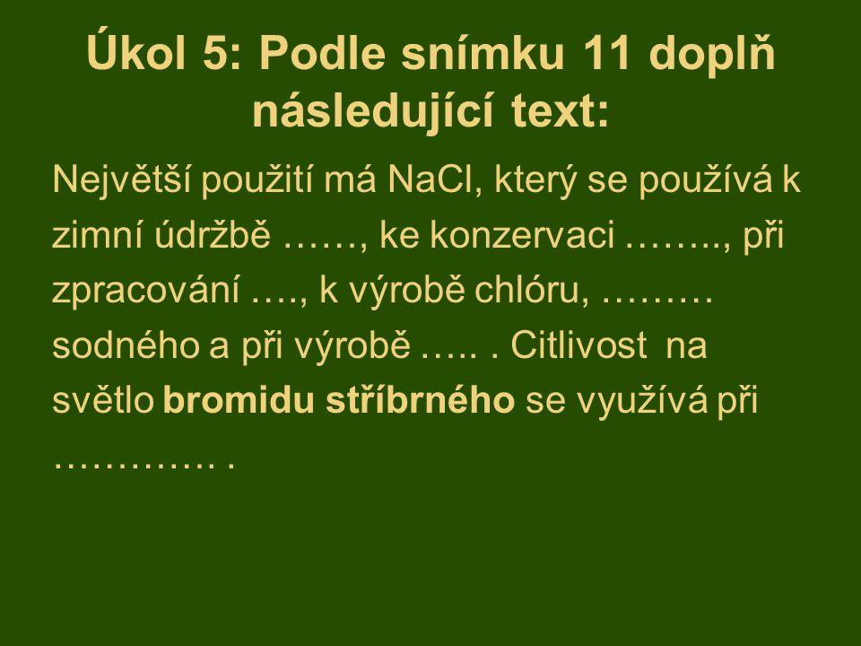 Úkol 5: Podle snímku 11 doplň následující text:
