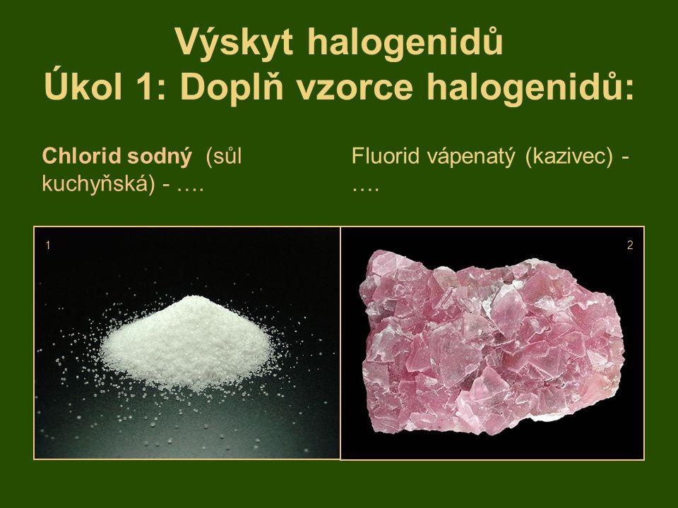 Výskyt halogenidů Úkol 1: Doplň vzorce halogenidů:
