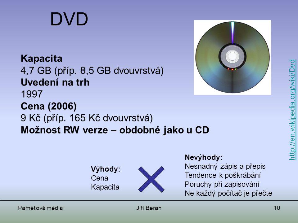DVD Kapacita 4,7 GB (příp. 8,5 GB dvouvrstvá) Uvedení na trh 1997