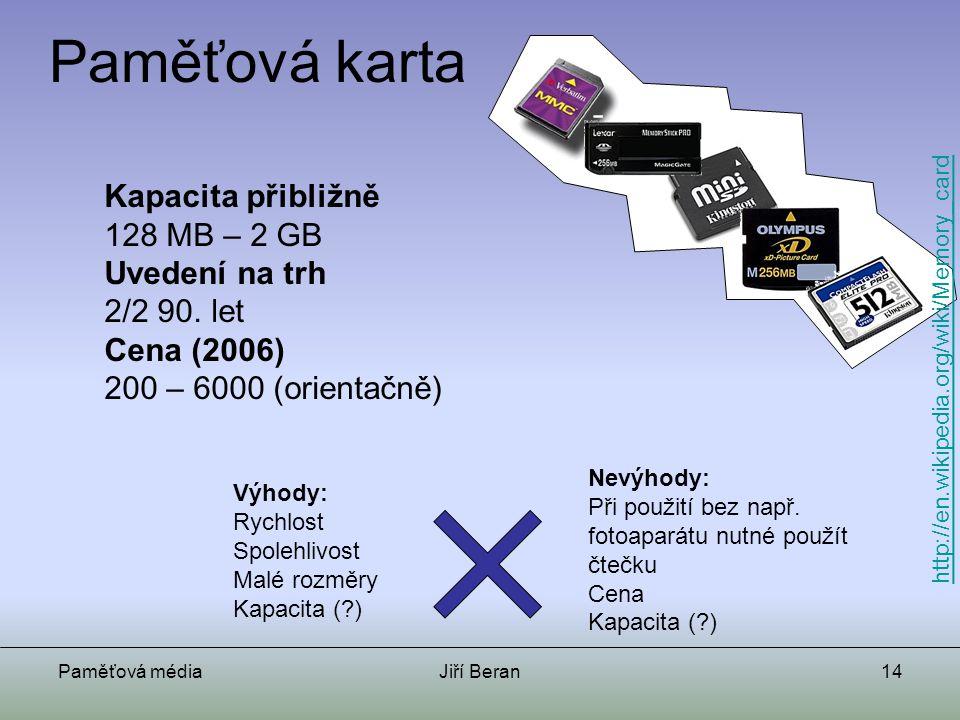 Paměťová karta Kapacita přibližně 128 MB – 2 GB Uvedení na trh