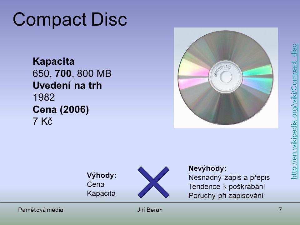 Compact Disc Kapacita 650, 700, 800 MB Uvedení na trh 1982 Cena (2006)